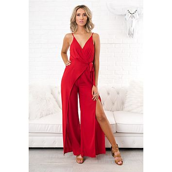 Won't Let You Fall Jumpsuit (Red)