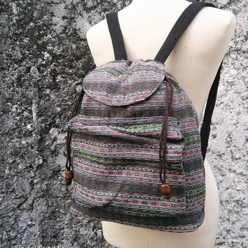 Boho Backpack Ethnic Aztec Print Tribal Woven Fabric Hobo Rucksack Hipster Hippies Gypsy Nepali Patterns Bags Hippie Purse Native sizeSmall