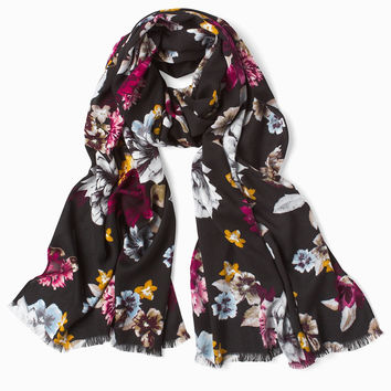 White House Black Market Floral Oblong Scarf