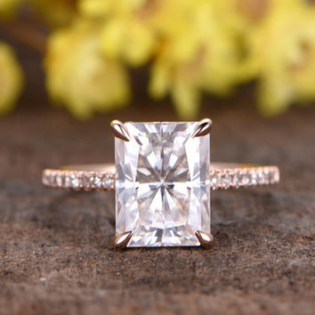 2.7 Carat Radiant Cut Moissanite Engagement Rings Diamond 14k Rose Gold Unique Stacking Band
