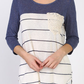 Navy Striped Vintage Top