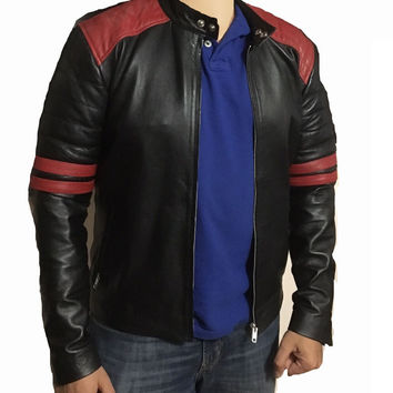Black moto style jacket with shoulder and arm patches