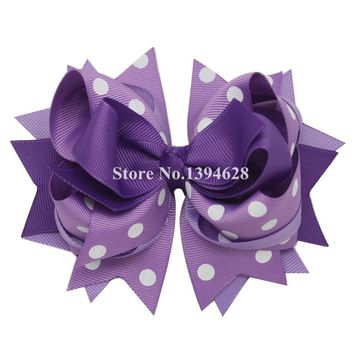 USD1.88 PC 5.5Inches Light Purple Polka Dots Stacked Boutique Bows With 6cm Hair Clip Polyester Bows For Girls Hairpins