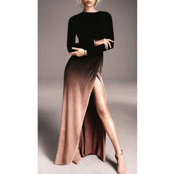 Sexy Round Collar Ombre High Slit Long Sleeve Dress For Women Sale LAVELIQ