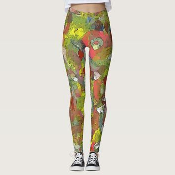 Colorful Painted Abstraction Leggings