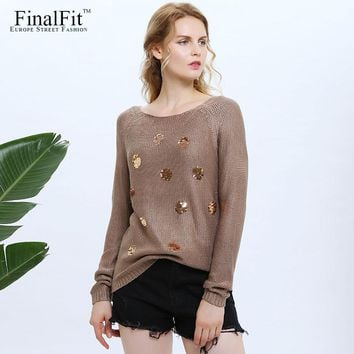 FinalFit Sequined Knitted Sweater Women Autumn Causal Women Sweater Pullovers 2017 Female Chandail Pull Femme