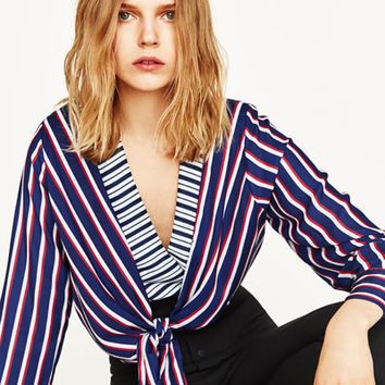 STRIPED BODYSUIT WITH FRONT KNOTDETAILS
