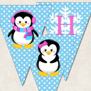 "Penguin Birthday Party Banner, ""Happy Birthday"", digital file, you-print"