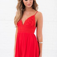 I'll Be Yours Crochet Romper (Red)