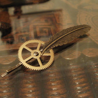 Steampunk Brass Feather Hair Pin by punqd on Etsy