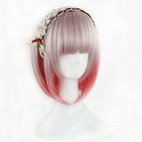 Harajuku Pink Mix Cosplay Costume Bob Wig Short Straight Hair Cosplay Anime Wig