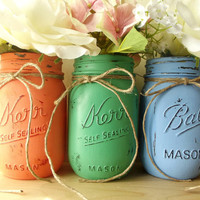 Three, Hand Painted Mason Jars, Rustic - Style Painted Mason Jars -- Peach, Blue and Green