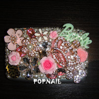 bling flower   Pocket Waterproof Business ID Credit Card Wallet Holder Case made with Swarovski Diamond Crystal