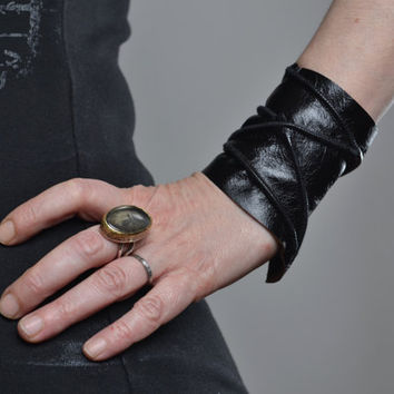 Black Leather Cuff Bracelet - Leather Cuff Bracelet - Leather Cuff - Summer Accessories - Leather Black Cuff