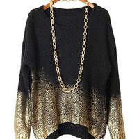 Bronzing Gradient Long Sleeve Knit Sweater