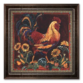 ''Rooster Rustic'' Framed Canvas Art by Suzanne Etienne (Brown)