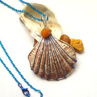 Seashell Necklace, Wire Wrapped Shell Jewelry With Amber Chip Detail, Handmade Wire Wrapped Pendant, Ooak Sea Themed Necklace, Unique Gift