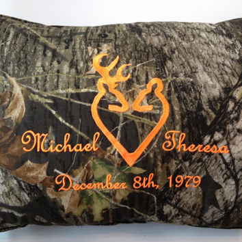 Personalized Couple or Wedding camo and deer pillow