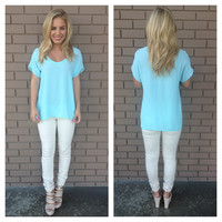 Sky Blue Short Sleeve Blouse