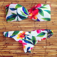 Floral Pattern Low Waist Bikinis Sexy Swimsuit [9807613903]