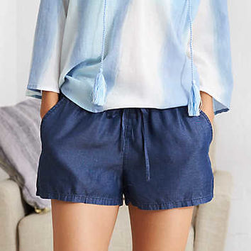 Aerie Chambray Short, Dark Blue