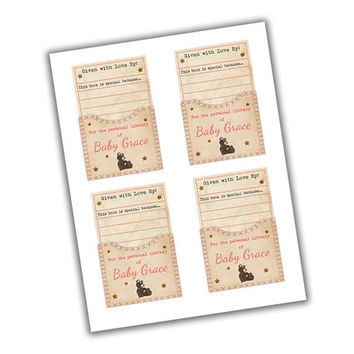 Teddy Bear Baby Shower Book Plate Library - Girl Baby Shower Bookplate - Stock The Library Labels - Girl Teddy Bear Book Labels - Babyshower