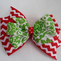 Green and red hair bow, Christmas bow, damask print, classic hair bow, tasteful conservative pretty hair bow, red and green, chevron ribbon