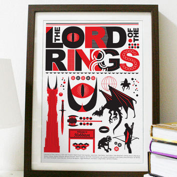 The Lord of the Rings - Red and Black Poster A3 Print