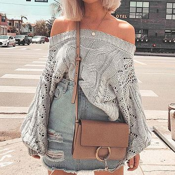 Hollow Out Casual Women Sweater Off Shoulder Sweater Pullovers Knitted Sweater Sweaters Jumper