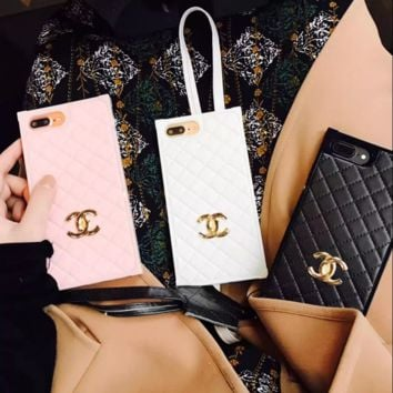 Chanel Fashion tartan silica gel phone case iPhone 6 plus  mobile phone shell iPhone 7 plus shell