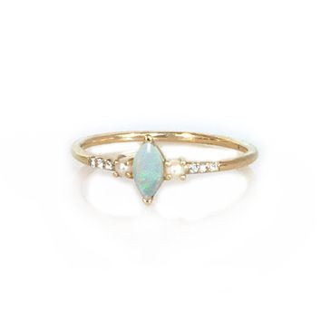 14kt Opal, Diamond and Pearl Savoy Ring