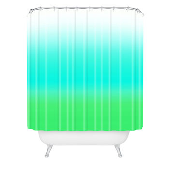 Natalie Baca Aquamarine Ombre Shower Curtain