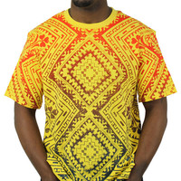 Moss New York Men's Rainbow Carpet T-Shirt Tee Bandana Yellow Size XL