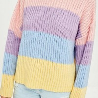 Missguided - Pink Multi Stripe Brushed Knitted Sweater