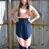 Coral and Navy Maxi