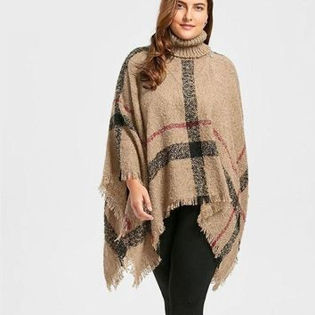 Plus Size Turtleneck Cape Sweater Warm Kintted  Loose Pullover Poncho