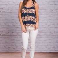 Floral Flare Tank, Navy