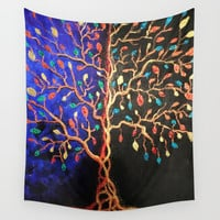 Golden Tree Dust Wall Tapestry by ecreativeartdesign
