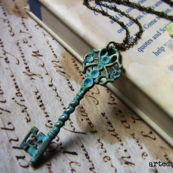 Free Shipping  Verdigris Necklace  Key necklace  by WhiteTeapot