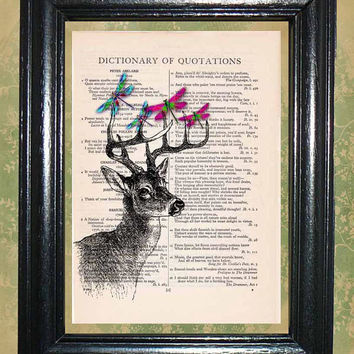 Deer with Colorful Dragonflies on the Antlers - Vintage Dictionary Book Page Art Beautiful Upcycled Page Art Wall Decor Art Print