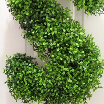 Boxwood Wreath , Boxwood Letter , Monogram Wreath , Door Wreath Decor, Artificial Boxwood Wreath , Initial Door Wreath