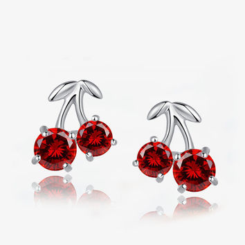 DAFU 100% 925 Sterling Silver Red cherry earrings FREE SHIPPING