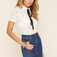 Collared Embroidered-Lace Top