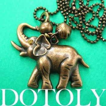 Baby Elephant Animal Pendant Necklace in Bronze with Bell Charm