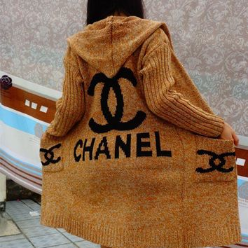 Day-First™ Chanel Hooded Sweater Knit Cardigan Jacket Coat