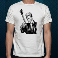 Best Design by ClothingShirt David Bowie Rolling Stone Rock Singer UK For t shirt Mens and T shirt Ladies color White