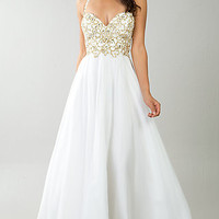 Beaded Ivory White Halter Gown by Dave and Johnny