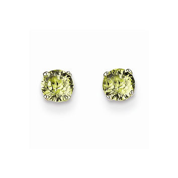 14k White Gold Round Peridot Birthstone Earrings