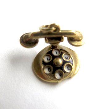Vintage 14K Gold Telephone Charm Rotary Dial Porcelain Dial I Love You Telephone Pendant