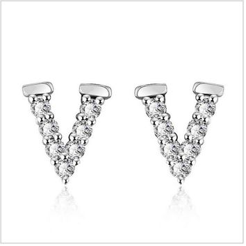 BeadyBoutique Crystal V Design Earrings - White Gold